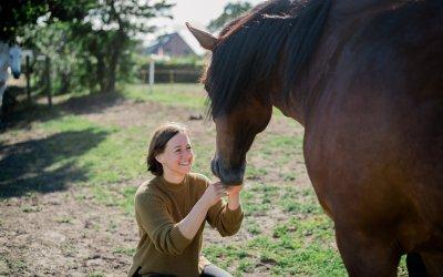 Feiner mit dem Pferd kommunizieren mit Yoga